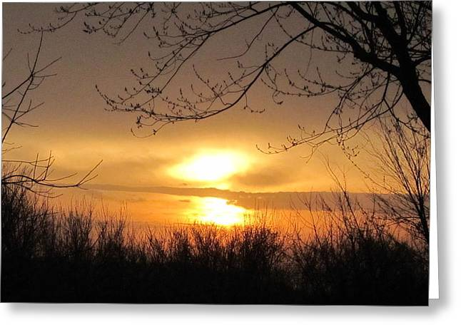 Sunset Glass Art Greeting Cards - Fading Light  Greeting Card by Robert  Nacke