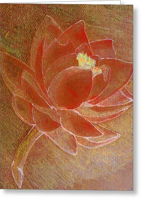 Catherine Mixed Media Greeting Cards - Fading Lotus Greeting Card by Catherine Harms
