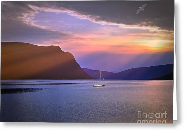 Norwegian Sunset Greeting Cards - Fading of the Light Greeting Card by Edmund Nagele
