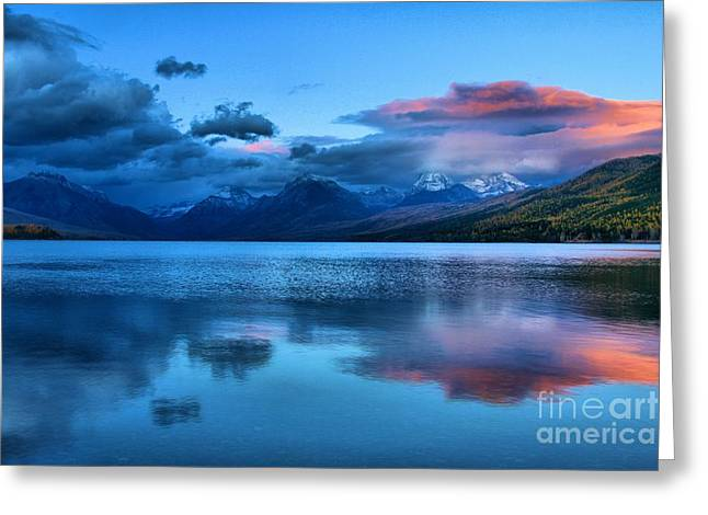 Lake Mcdonald Greeting Cards - Fading Sunset Greeting Card by Adam Jewell
