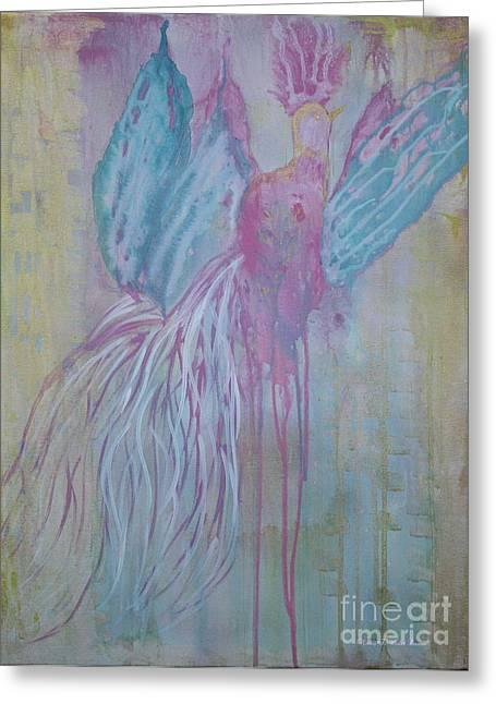 Gold Angel Greeting Cards - Faerie Bird Greeting Card by Nancy TeWinkel Lauren