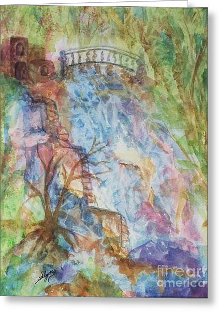 Stepping Stones Greeting Cards - Faerie Falls Greeting Card by Ellen Levinson