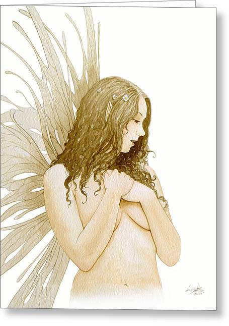 Knickers Greeting Cards - Faerie portrait Greeting Card by John Silver