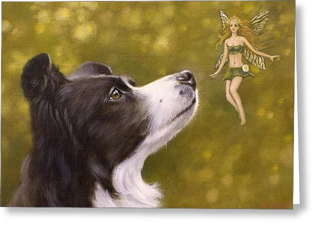 Collie Greeting Cards - Faerie tales II Greeting Card by John Silver