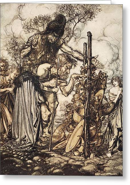 Goddess Drawings Greeting Cards - Fafner Hey! Come Hither, And Stop Greeting Card by Arthur Rackham