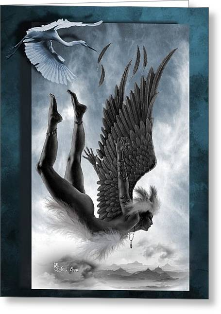 Angel Blues Greeting Cards - Failed flight Greeting Card by Ali Oppy