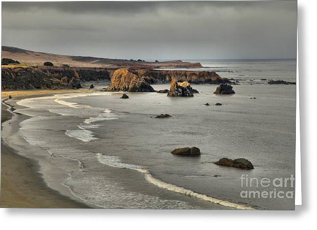 Big Sur Greeting Cards - Faint Patches Of Sun Greeting Card by Adam Jewell