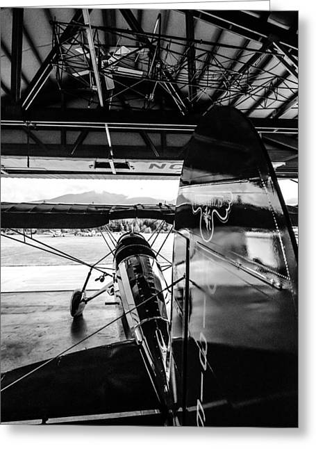 Aerobatics Greeting Cards - Fair Child Bi Plane Black and White Greeting Card by Puget  Exposure