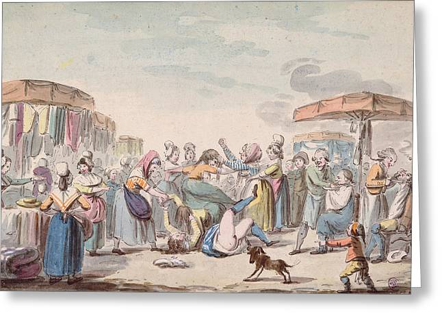 Market Photographs Greeting Cards - Fair During The Period Of The French Revolution, C.1789 Wc On Paper Greeting Card by Etienne Bericourt