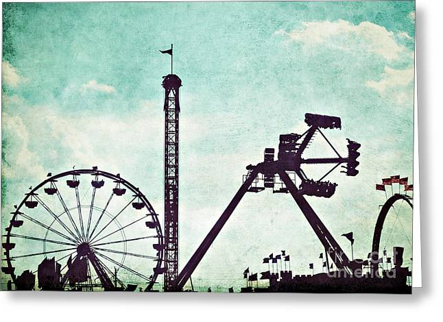 Amusements Greeting Cards - Fair Silhouette Greeting Card by Bethany Helzer