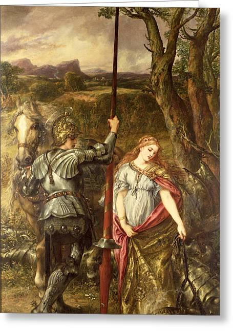 Slay Greeting Cards - Fair St. George, 1881 Oil On Canvas Greeting Card by Sir John Gilbert