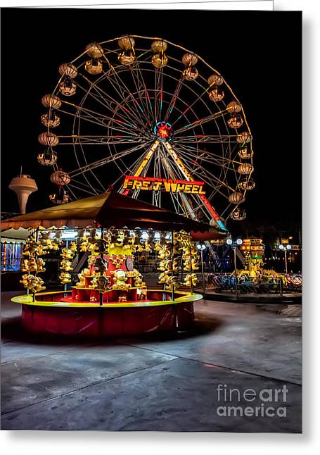 Signed Digital Greeting Cards - Fairground at Night Greeting Card by Adrian Evans