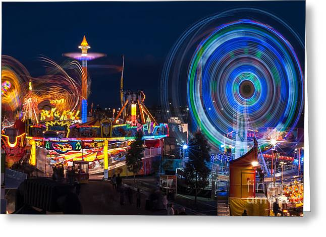 Rotate Greeting Cards - Fairground Attraction Greeting Card by Ray Warren