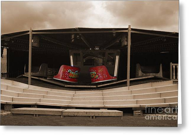 Terri Waters Greeting Cards - Fairground Waltzer in Sepia Greeting Card by Terri  Waters