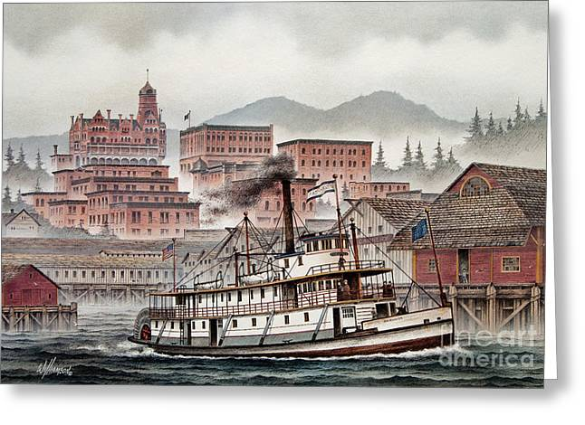Steamboat Greeting Cards - Fairhaven Greeting Card by James Williamson