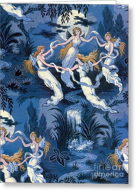 Folk Lore Greeting Cards - Fairies In The Moonlight French Textile Greeting Card by Photo Researchers