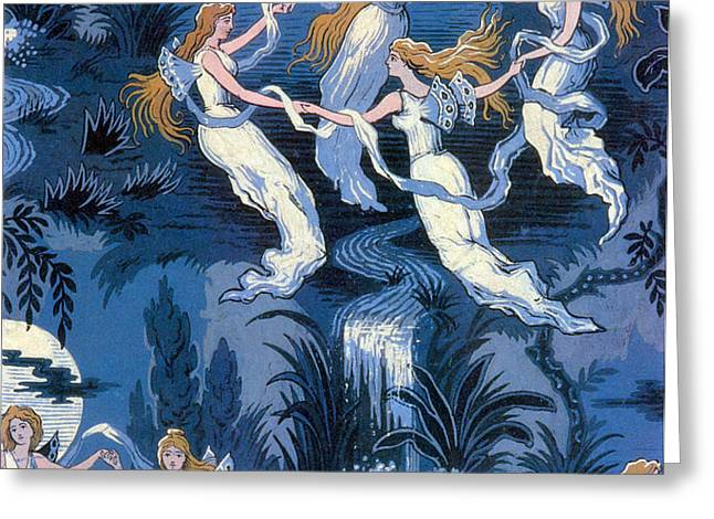 Fairies In The Moonlight French Textile Greeting Card by Photo Researchers