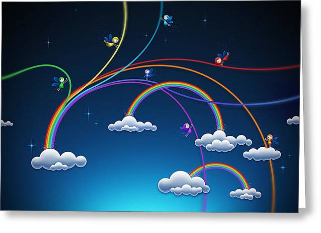 Abstract Digital Greeting Cards - Fairies Made Rainbow Greeting Card by Gianfranco Weiss