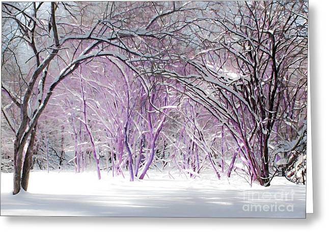 Overhanging Snow Greeting Cards - Fairies Winter Wonderland Greeting Card by Barbara McMahon