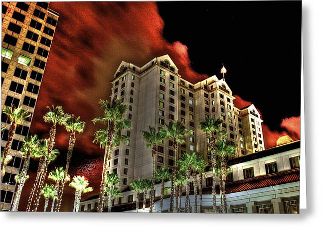 Cesar Chavez Greeting Cards - Fairmont from Plaza de Cesar Chavez 2 Greeting Card by SC Heffner