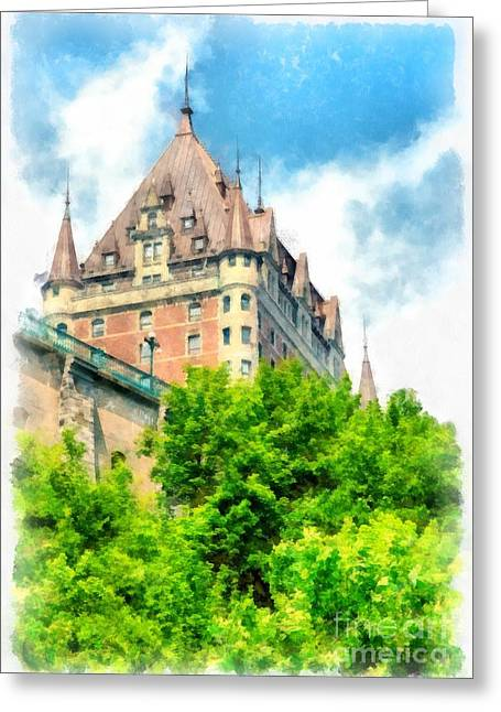 Watermark Greeting Cards - Fairmont Le Chateau Frontenac Greeting Card by Edward Fielding