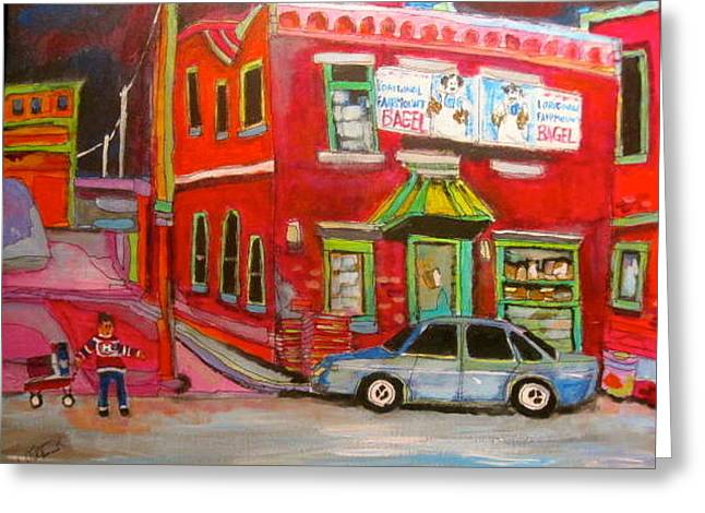 Old Jewish Area Greeting Cards - Fairmount Bagel Colours Greeting Card by Michael Litvack