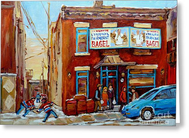 Montreal Hockey Scenes Greeting Cards - Fairmount Bagel In Winter Montreal City Scene Greeting Card by Carole Spandau