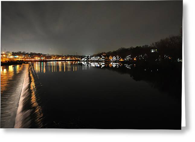 Rowing Crew Greeting Cards - Fairmount Dam and Boathouse Row in the Evening Greeting Card by Bill Cannon