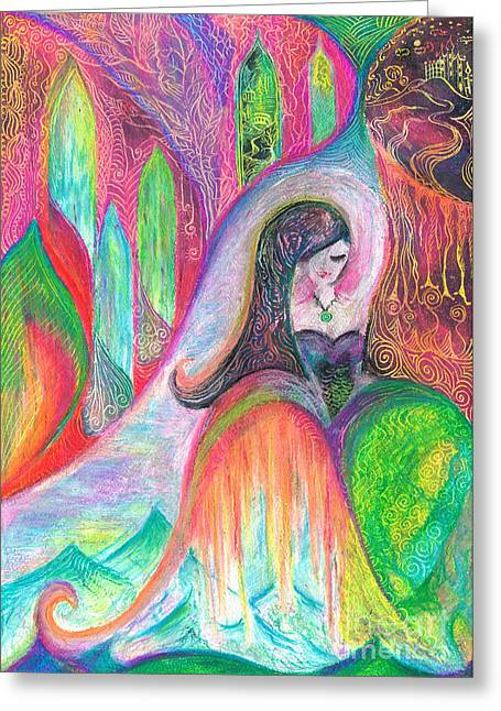 Fantasy World Pastels Greeting Cards - Fairtale Journey Greeting Card by Sophia Sarhidai