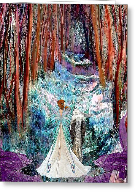 Fairy And Unicorn Forest Walk Greeting Card by Michele Avanti