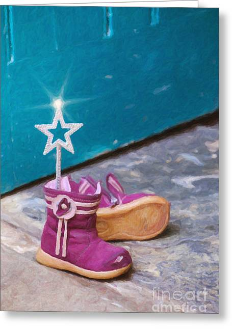 Boot Greeting Cards - Fairy at the Door  Greeting Card by Tim Gainey
