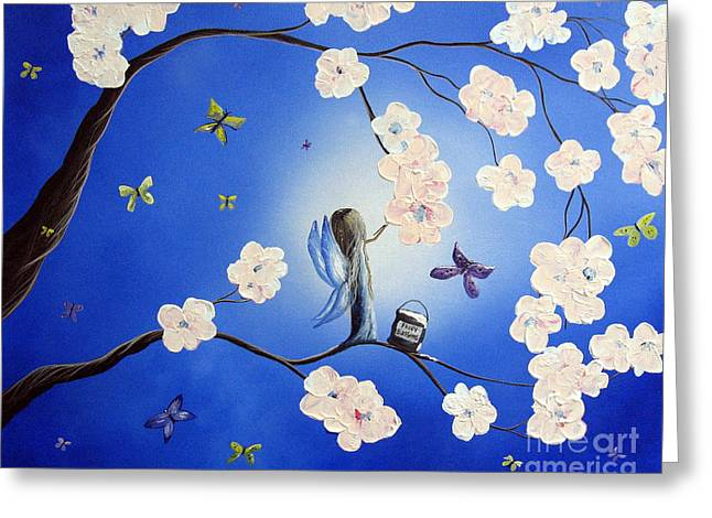 Fluttering Paintings Greeting Cards - Fairy Blossoms by Shawna Erback Greeting Card by Shawna Erback