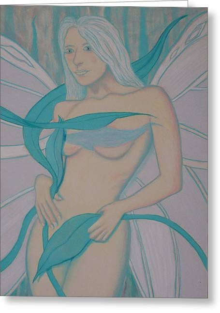 Fairies Pastels Greeting Cards - Fairy Blue Greeting Card by Lawrence Weiner