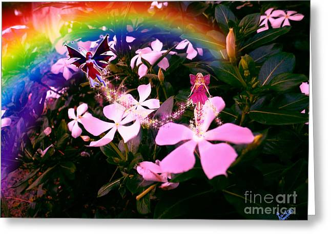 Flower Pink Fairy Child Greeting Cards - Fairy Landing on Crape Jasmine Greeting Card by Artist Nandika  Dutt