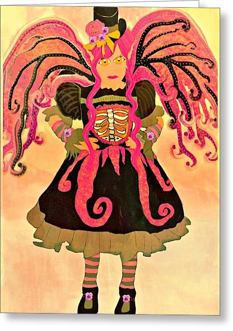 Flower Pink Fairy Child Greeting Cards - Fairy Chanter Roseglimmer Greeting Card by Tisha McGee