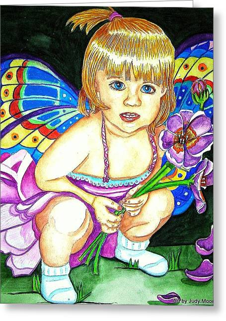 Flower Pink Fairy Child Greeting Cards - Fairy Child Greeting Card by Judy Moon