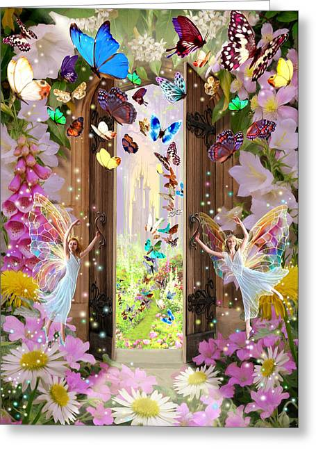 Foxglove Flowers Greeting Cards - Fairy Door Greeting Card by Garry Walton