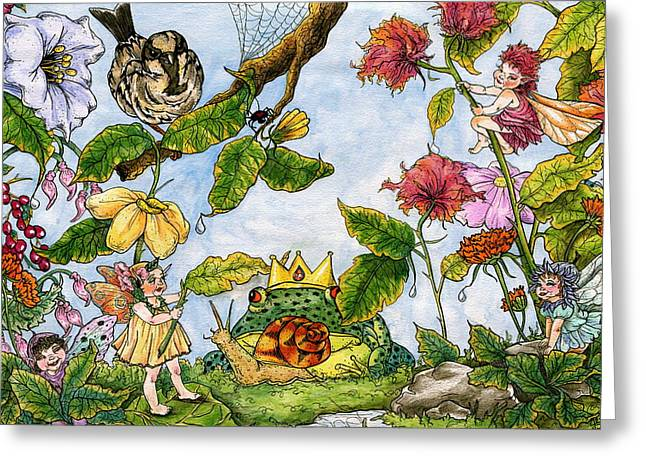 Black Widow Drawings Greeting Cards - Fairy frog prince Greeting Card by Julie McDoniel