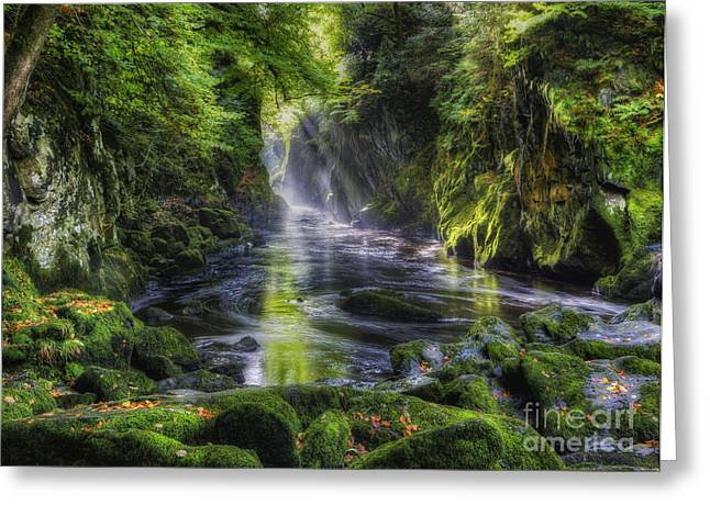 Dreamy Landscape Greeting Cards - Fairy Glen Greeting Card by Ian Mitchell