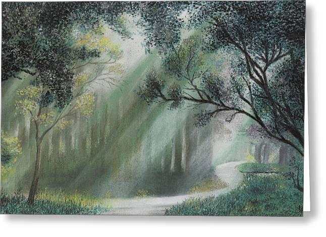 Fairy Pastels Greeting Cards - Fairy Glen Greeting Card by John Hebb