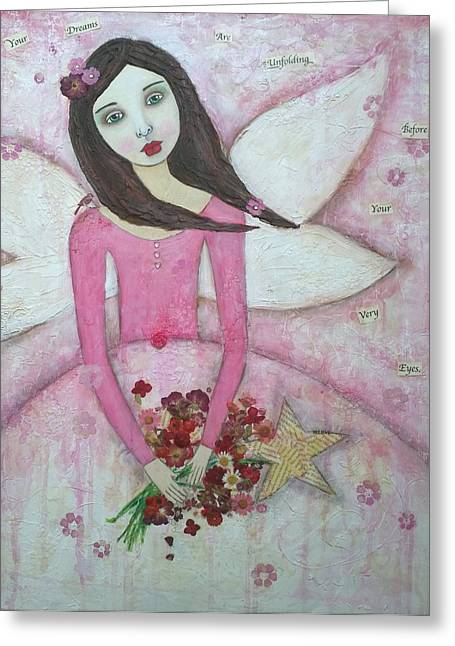 Flower Pink Fairy Child Greeting Cards - Fairy Godmother Greeting Card by Denise Sauer