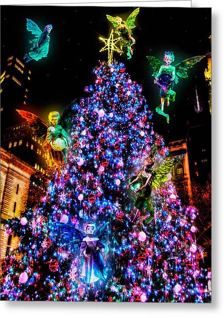 Bryant Park Greeting Cards - Fairy Holiday Tree Greeting Card by Chris Lord