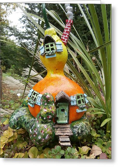Fairies Sculptures Greeting Cards - Fairy House Gourd Greeting Card by Gordon Wendling