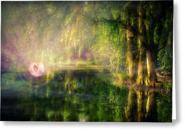 Soft Light Mixed Media Greeting Cards - Fairy in Pink bubble in Serenity Forest Greeting Card by Lilia D