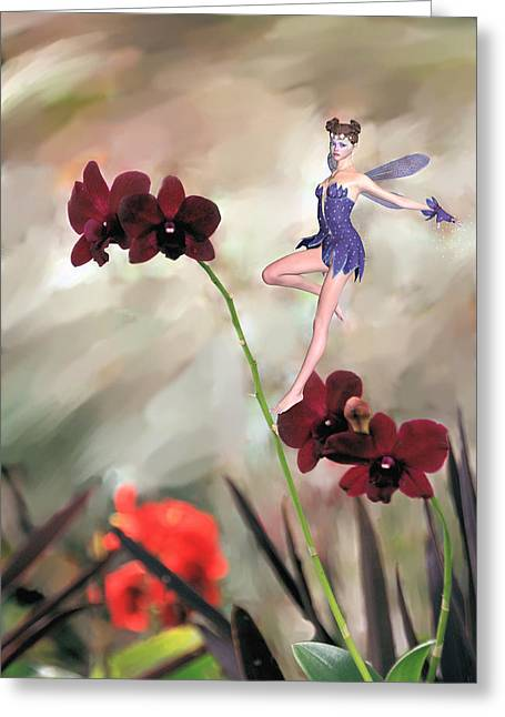 Rosalie Scanlon Greeting Cards - Fairy in the Orchid Garden Greeting Card by Rosalie Scanlon