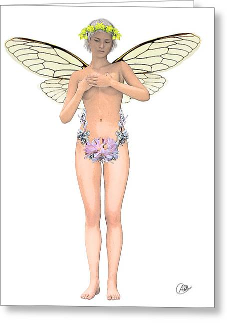 Graphite Digital Art Greeting Cards - Fairy lovers. Greeting Card by Joaquin Abella