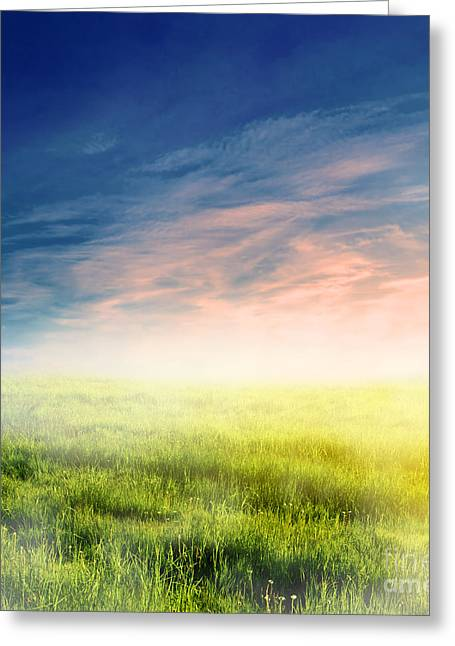 Peaceful Scene Greeting Cards - Fairy magical landscape with sunrise fog Greeting Card by Michal Bednarek