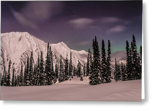 Moonscape Greeting Cards - Fairy Meadows Northern Lights Greeting Card by Ian Stotesbury