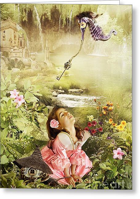 Flower Pink Fairy Child Greeting Cards - Fairy Mirabell and the Golden Key Greeting Card by Donika Nikova - ShaynART