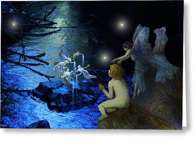 Metaphysics Mixed Media Greeting Cards - Fairy Nights and Fairy Lights Greeting Card by Bill  Oliver